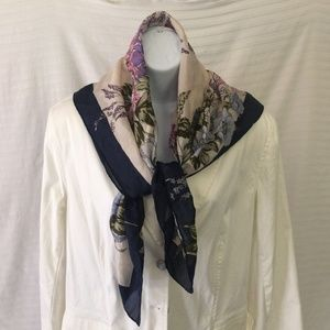 Navy Blue and Floral 100% Silk Scarf